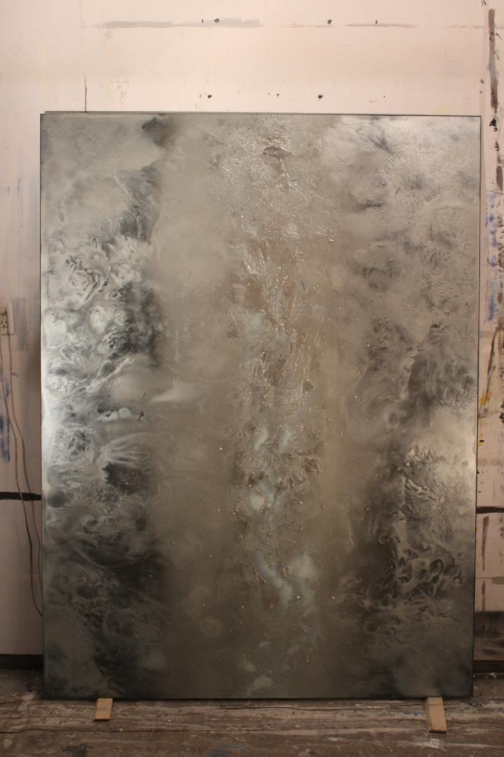 glass art panel in studio