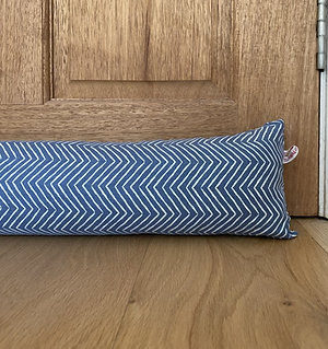 Draught excluder - Blue herringbone made to measure draft stoppers