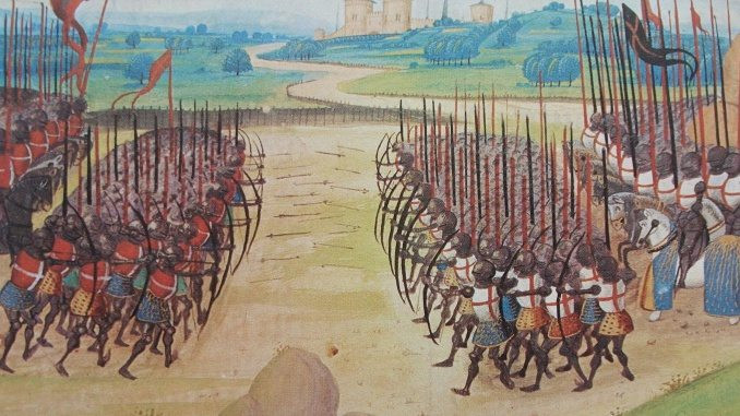A depiction of the Battle of Agincourt from the Hundred Years' War.Part of the Qwiz5 series by Qwiz Quizbowl Camp, written to help quiz bowl teams power more tossups!