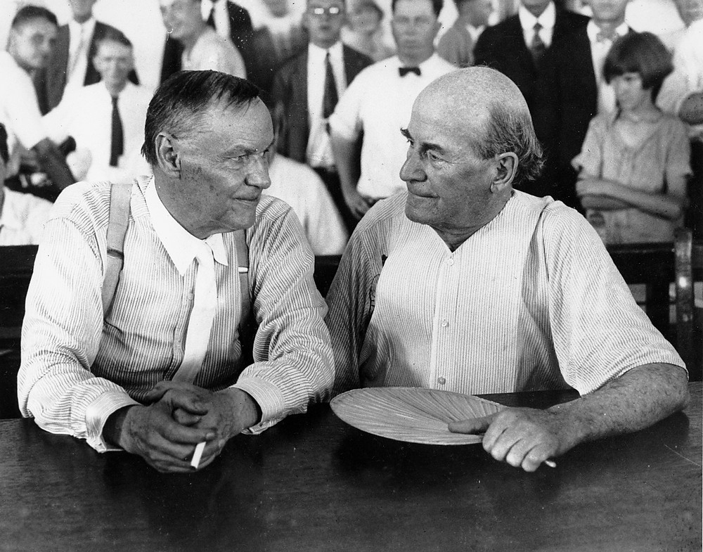 Clarence Darrow and William Jennings Bryan, opposing attorneys in the 1925 Scopes Trial.  Part of the Qwiz5 series by Qwiz Quizbowl Camp, written to help quiz bowl teams power more tossups!