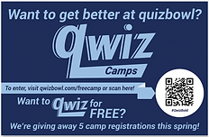 A Qwiz postcard for quiz bowl teams to win a free regitration at Qwiz Quizbowl Camp.