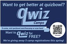 A Qwiz postcard for quiz bowl teams to win a free regitration at Qwiz Quizbowl Camp.