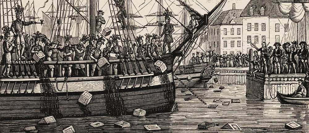 Colonists throwing tea into the harbor as part of the Boston Tea Party.  Part of the Qwiz5 series by Qwiz Quizbowl Camp, written to help quiz bowl teams power more tossups!.