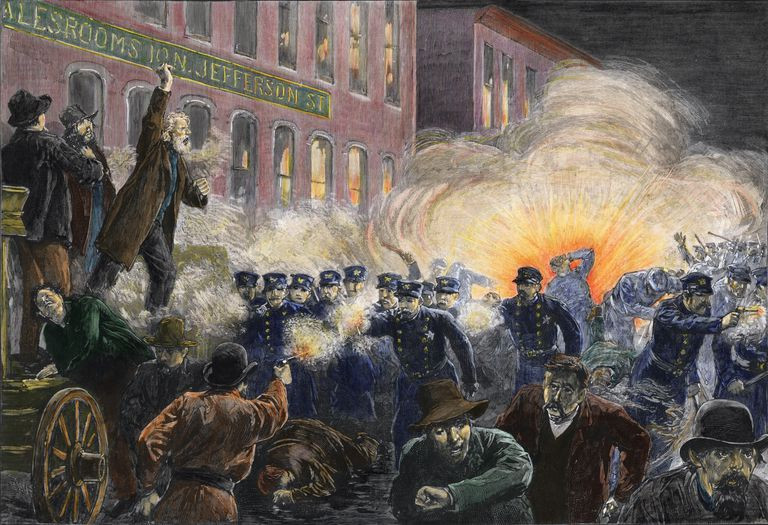 A depiction of the 1886 Haymarket Square Riot. Part of the Qwiz5 series by Qwiz Quizbowl Camp, written to help quiz bowl teams power more tossups!