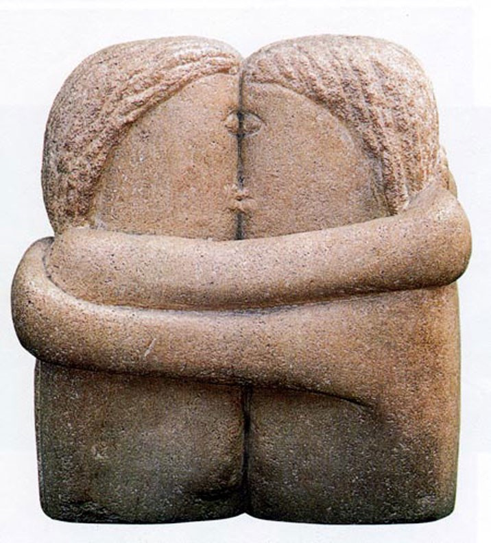 """Brancusi's """"The Kiss"""".  Part of the Qwiz5 series by Qwiz Quizbowl Camp, written to help quiz bowl teams power more tossups!"""