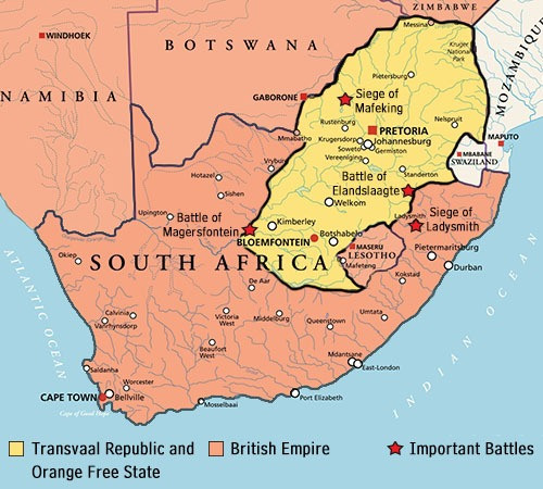 Map of important battles of the boer war. Part of the Qwiz5 series by Qwiz Quizbowl Camp, written to help quiz bowl teams power more tossups!