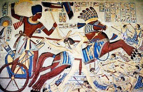 Ramses the Great fighting at the Battle of Kadesh.  Part of the Qwiz5 series by Qwiz Quizbowl Camp, written to help quiz bowl teams power more tossups!.