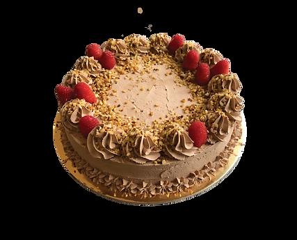 torta al cioccolato con lamponi e nocciola, old fashioned