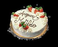 torta vaniglia, crema cheesecake e fragola, minimal