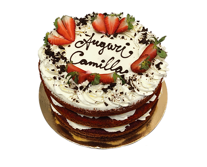 torta red velvet con fragole, naked
