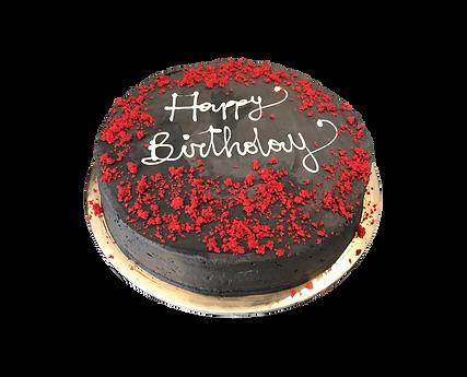 torta banana e cioccolato fondente con red velvet, minimal