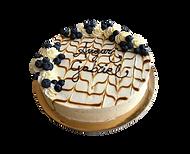 torta vaniglia e crema cheesecake con caramello e mirtilli, minimal