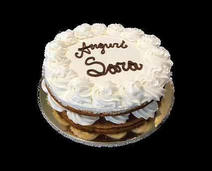 torta vaniglia e panna con ripieno al bacio, naked