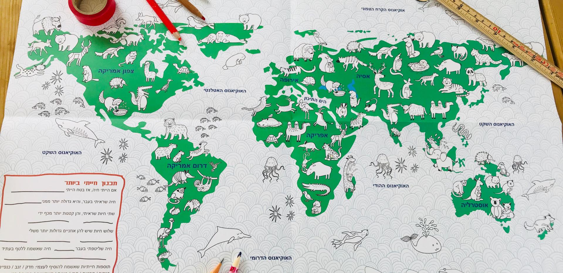 פוסטר מפה דו צדדי מפת העולם לצביעה ומפה
