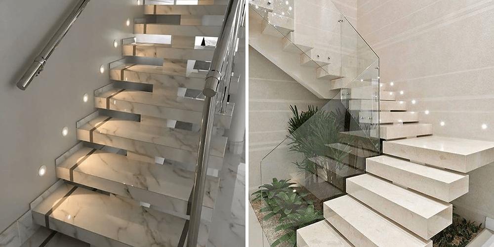 Revestimento da escada em concreto com mármore e porcelanato bege.