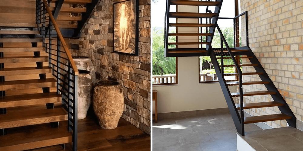 Ambas escadas em U com pisos de madeira e estrutura com duas vigas laterais em ferro.