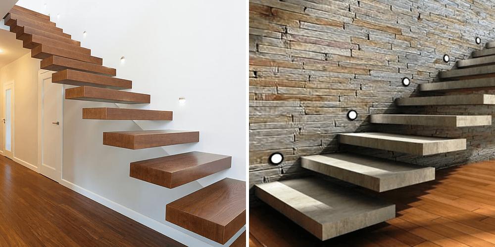 Na primeira imagem temos os pisos em madeira, e na segunda os pisos da escada estão em concreto aparente