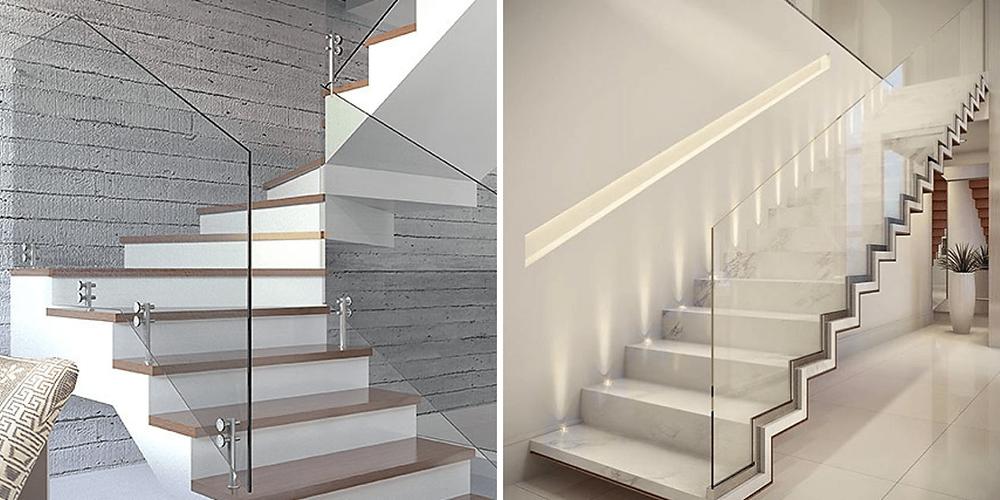 escadas em concreto com pisos de madeira e guarda corpo de vidro. E, na segunda imagem, escada em ferro com pisos de mármore e guarda corpo de vidro