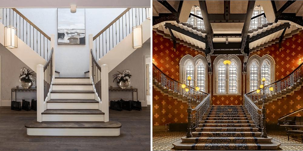 Na primeira imagem temos uma escada bifurcada residencial feita em concreto com guarda corpo de ferro. Já na segunda, temos uma escada de hotel bem clássica.