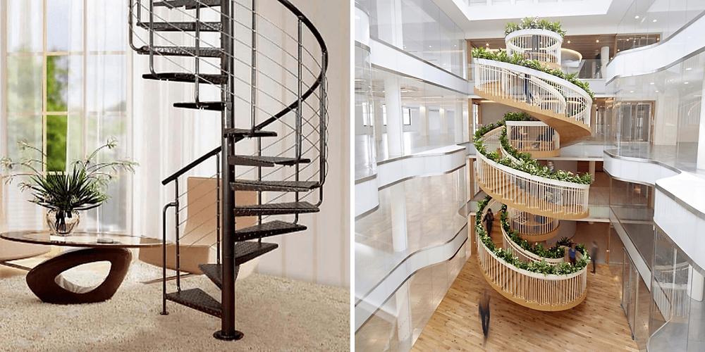 Na primeira imagem temos uma escada residencial em caracol de ferro na cor preta. Na segunda temos uma escada em caracol de três pavimentos, ao centro de um ambiente aberto, provavelmente de concreto com guarda corpo de ferro