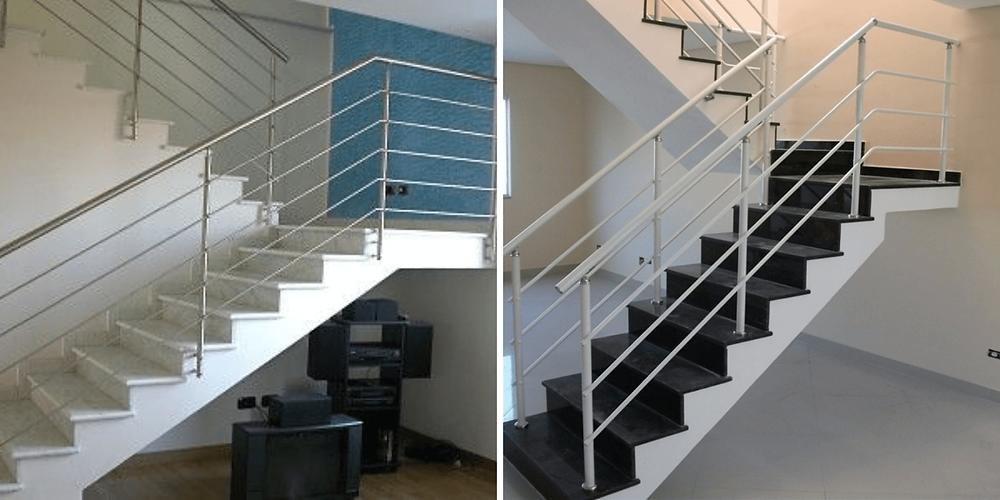 Guarda corpo em alumínio em escadas de concreto lisas