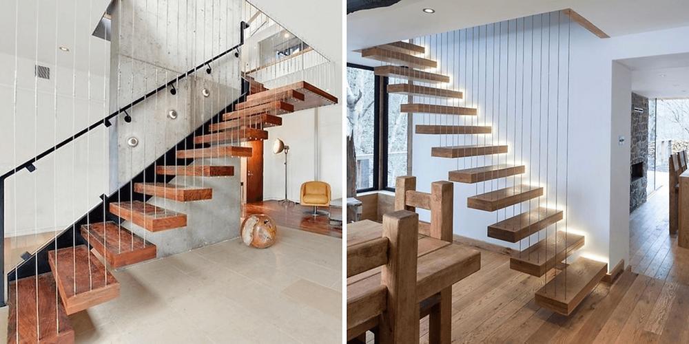 Escada suspensa por cabos de aços e pisos de madeira