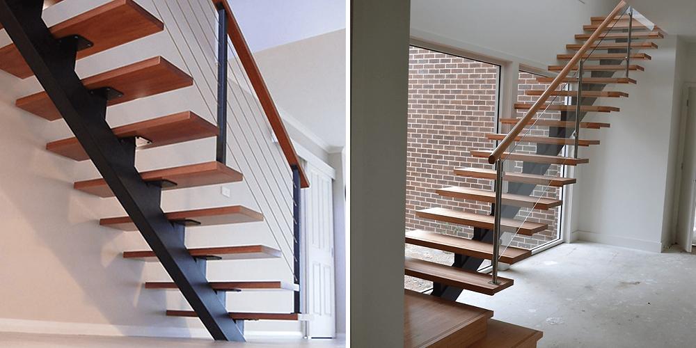 As dois modelos de escada são com viga central em ferro e pisos em madeira.