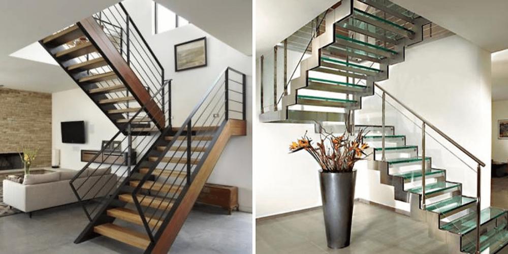 Na primeira escada em U temos estrutura de madeira com guarda corpo de ferro preto. E na segunda escada em U, temos estrutura em ferro e piso de vidro ou acrílico.