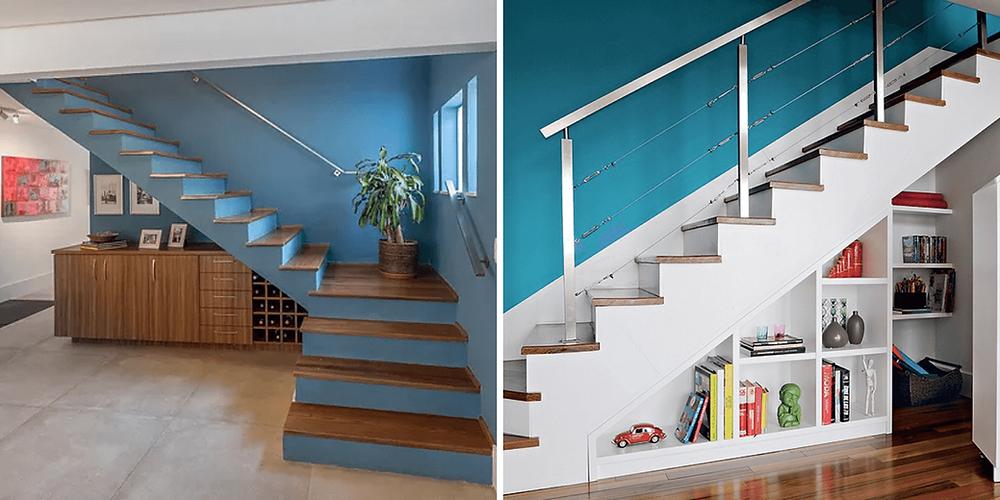 Escada lisa de concreto, uma pintada em azul com piso de madeira, e a outra em branco com guarda corpo de alumínio.