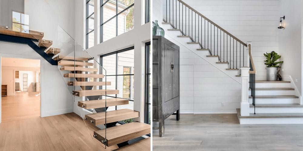 Primeira imagem é uma escada em L de madeira com guarda corpo em vidro e viga centra. Já a segunda é uma escada em L de concreto lisa, pintada de branco e com pisos que imitam madeira.