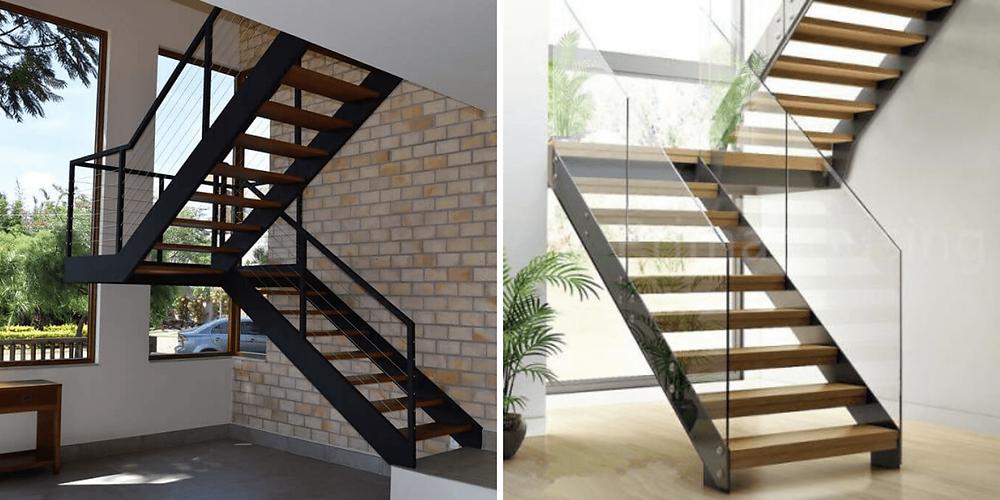 Esse modelo de escada com vigas laterais em ferro, em U, com pisos de madeira