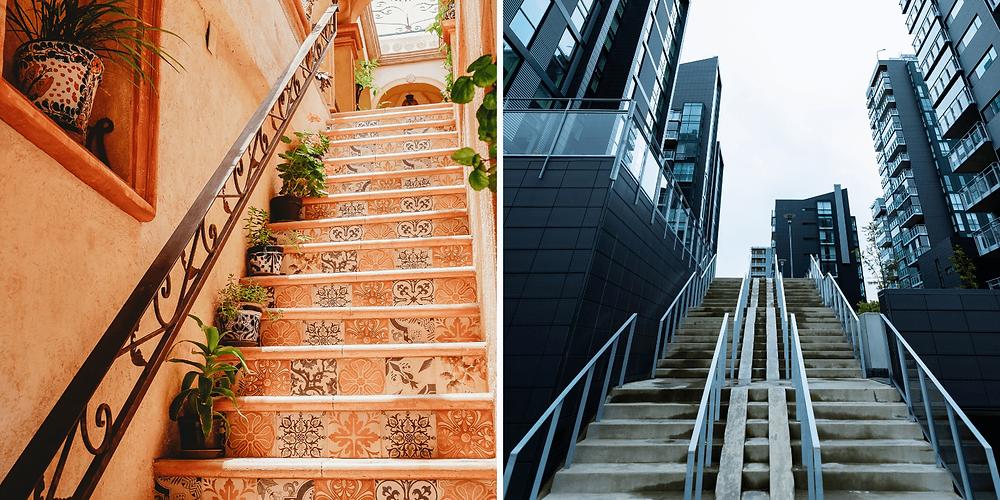 Duas escadas retas. Na primeira a escada é residencial de azulejos laranjados, já na segunda é uma escada reta com vários patamares característicos da saída de metro em uma cidade grande com prédios ao redor.