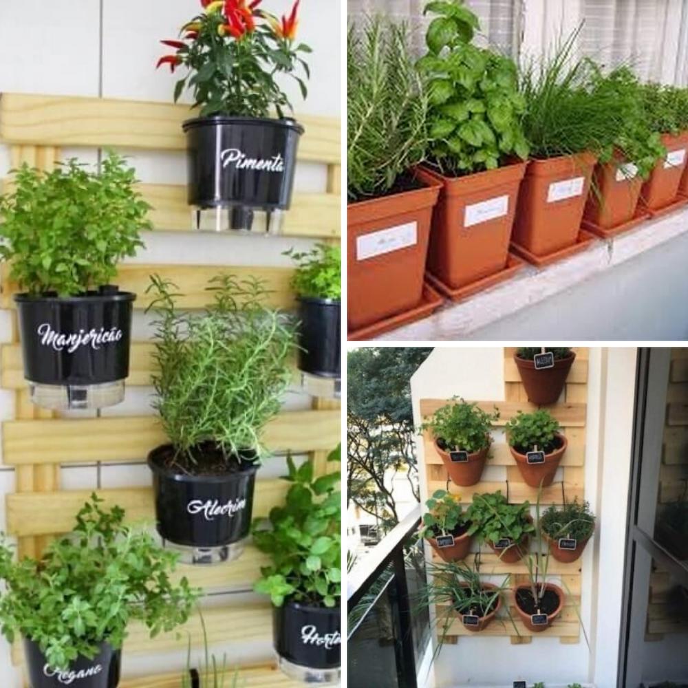 Temos exemplos de vasos na parede apoiados em pallets. E, Exemplos de vasos colocados na janela.