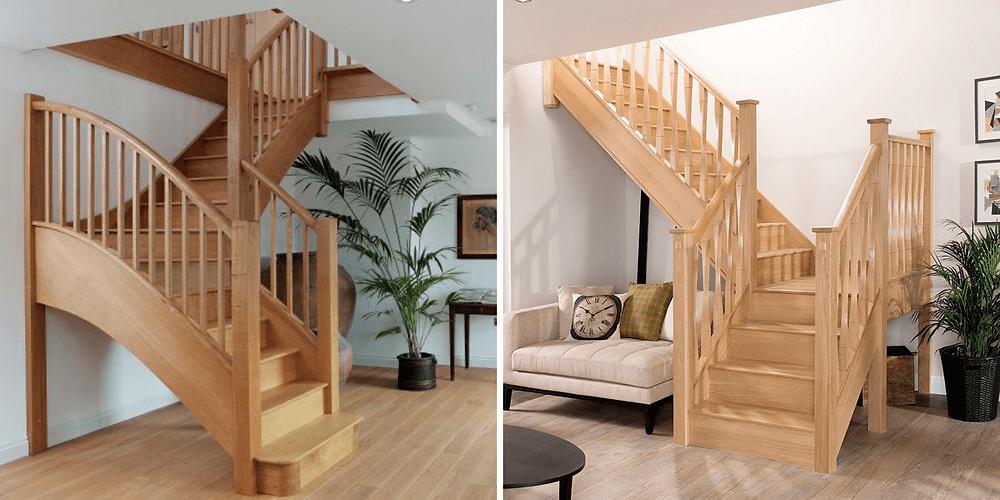 Escada em madeira. em L, com guarda corpo de madeira