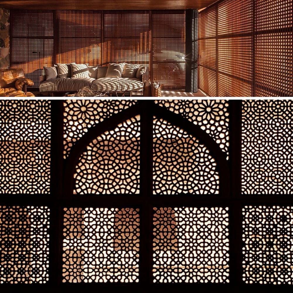 Há duas imagens de exemplos de muxarabis. A primeira consiste em tramas de madeiras vazadas. E a outra são formas geométricas em madeira vazadas.