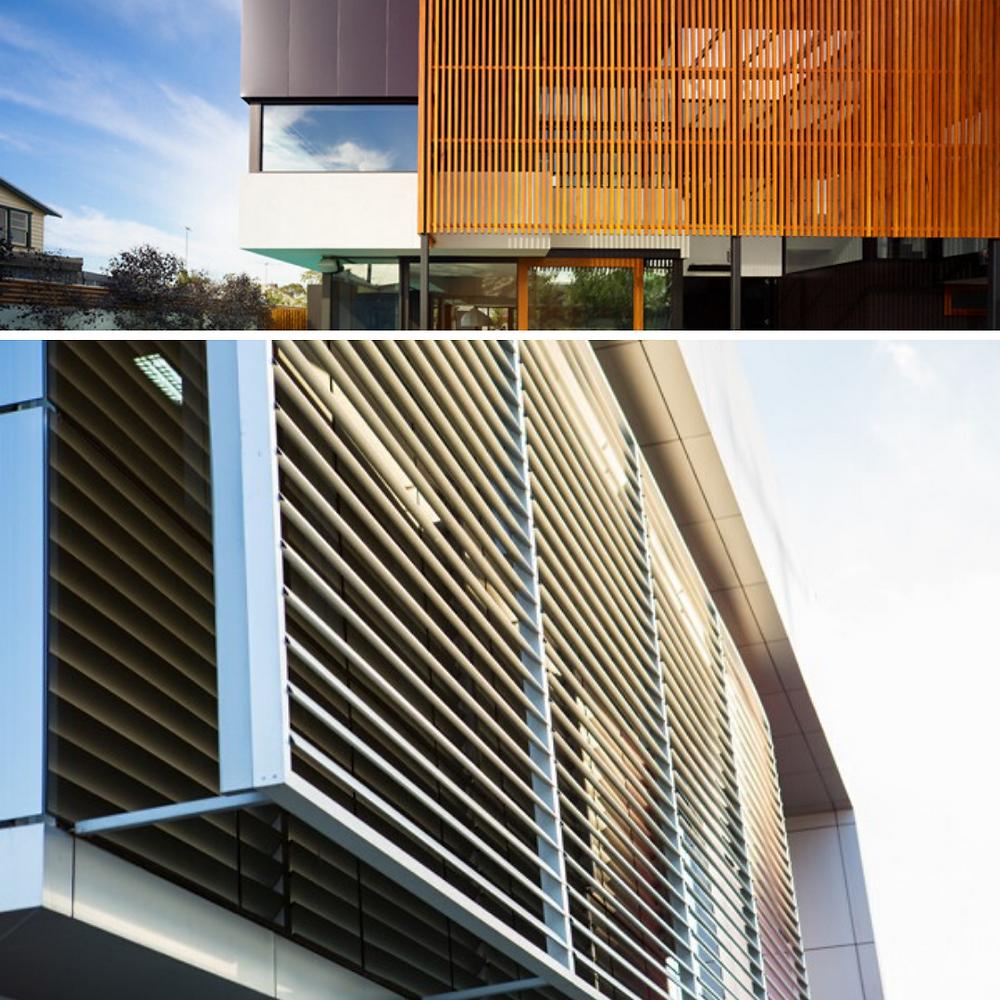 Na primeira imagem temos exemplos de brises verticais de madeira. Na segunda imagem há exemplo de brises horizontais de metais pintados de branco.