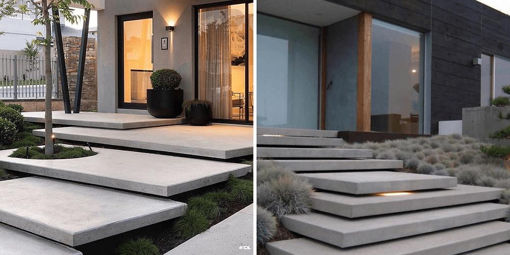 Modelo de escada com pisos flutuantes em concreto para a porta de entrada