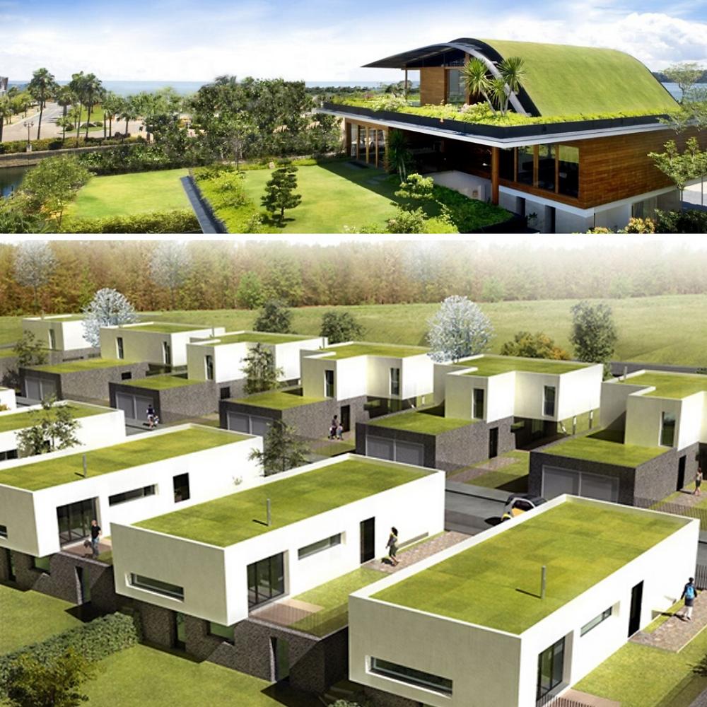 Na primeira imagem temos um telhado verde inclinado. E  na segunda imagem é um conjunto de casas iguais com o telhado verde aparentemente plano.