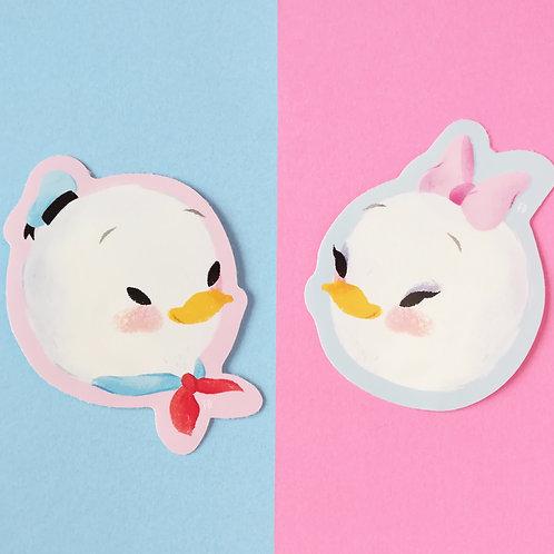 Donald & Daisy Duck Vinyl Stickers 8x5cm For Indoor/Outdoor Use