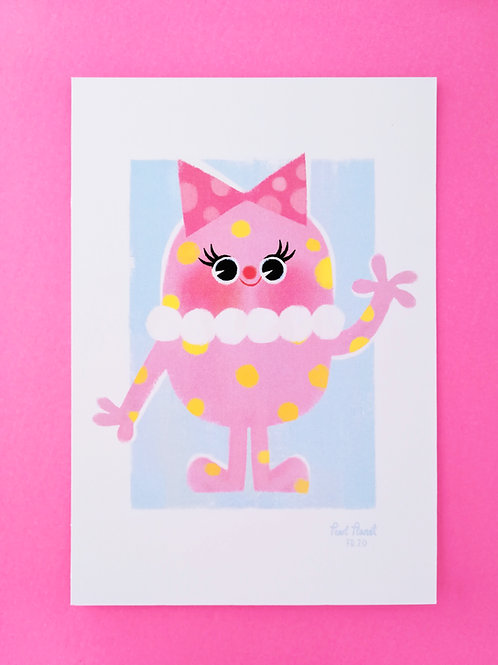 Mrs Blobby A6- Art Print