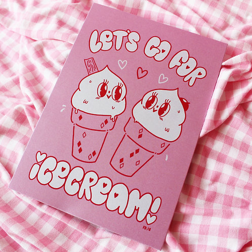 A5 Opalescent Let's Go For Icecream- Art Print