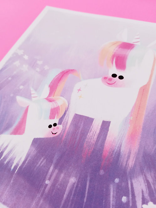 Unicorn Mumma A5 Square - Original illustration Art Print