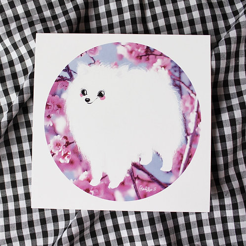 A5 Square Japanese Spitz Dog - Art Print