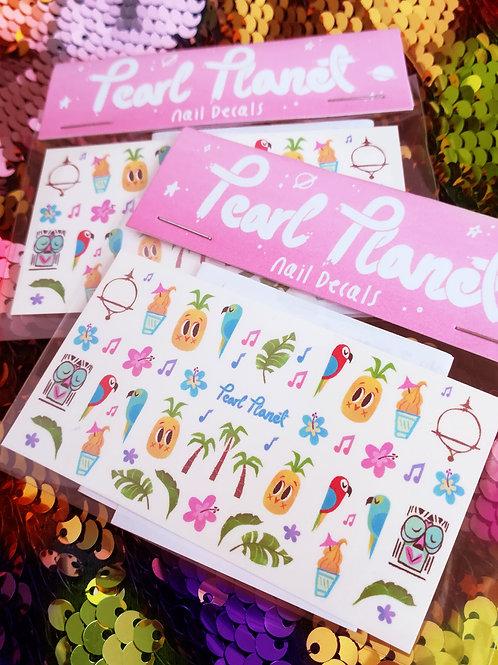 Tiki Pack- Enchanted Tiki Room inspired, Waterslide Nail Decals