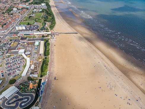 Aerial photo of the British seaside town