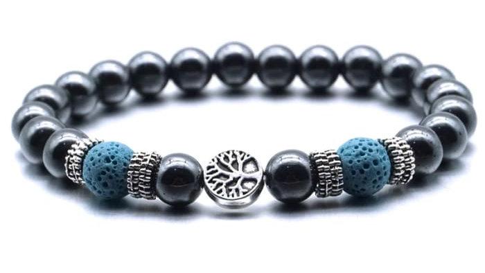 Blue Tree of Life Lava Stone Metal Bracelet