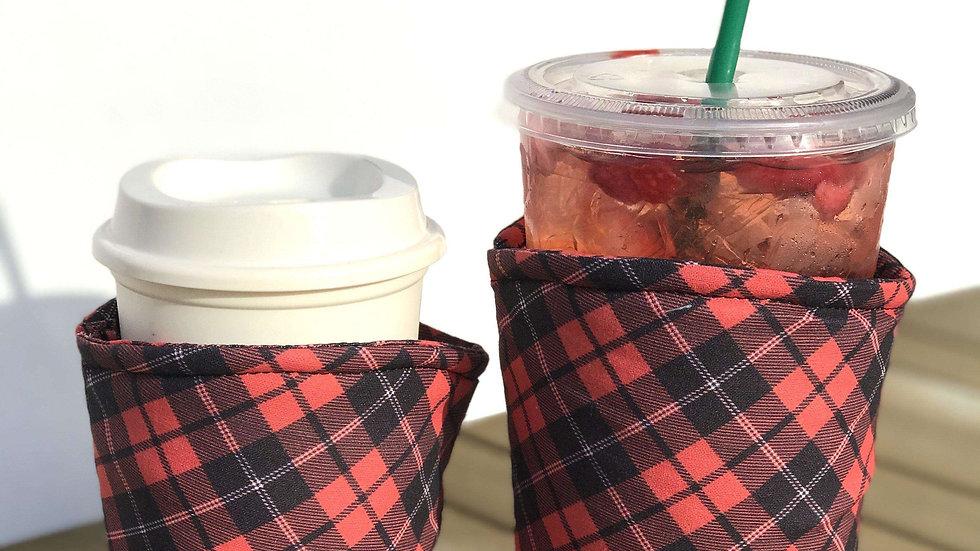 Red Plaid Coffee Sleeve