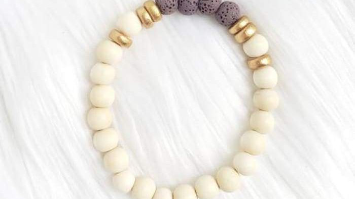 Purple & White Lava Stone Bracelet