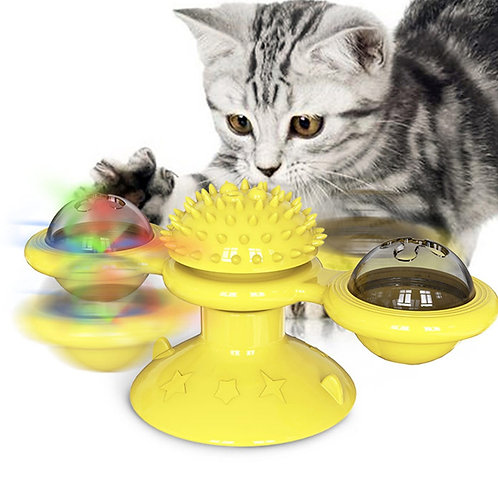 Interactive Puzzle Training Turntable Windmill Ball Whirling Toy for Cats