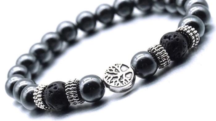 Black Tree of Life Lava Stone Metal Bracelet